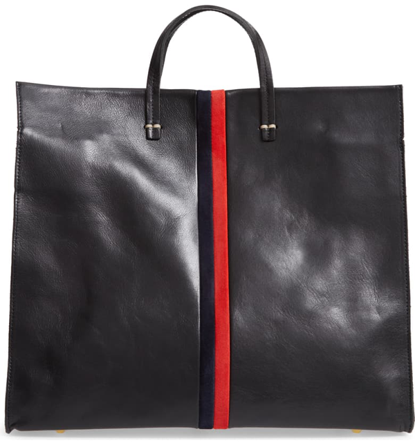 Clare V Simple Leather Tote In Black/ Navy Red Stripes