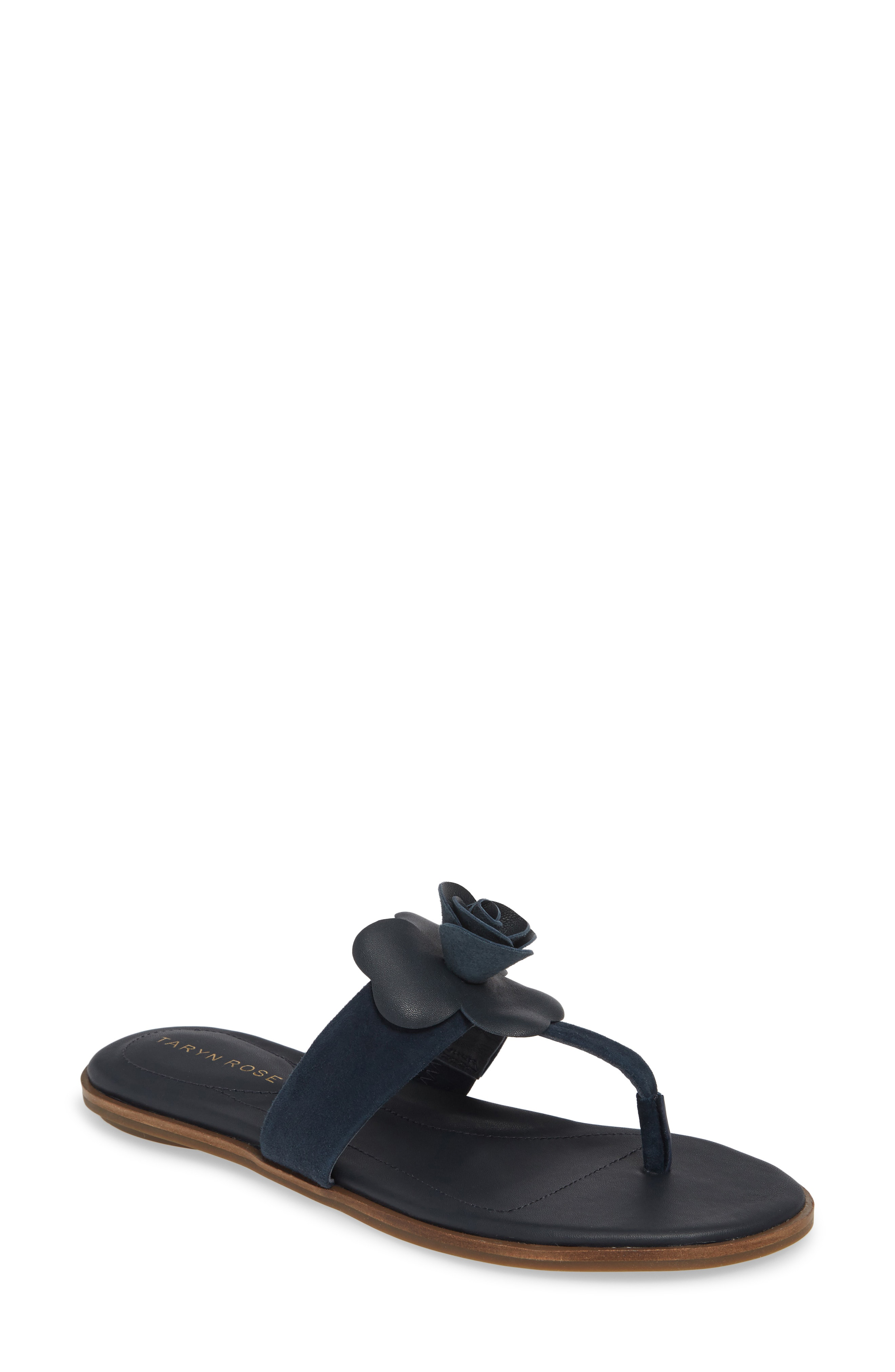 dcb014eea9e6 A floral accent adds a pretty flourish to this minimalist flip-flop set on  a lightly cushioned footbed. Style Name  Taryn Rose Kaori Flip Flop (Women).