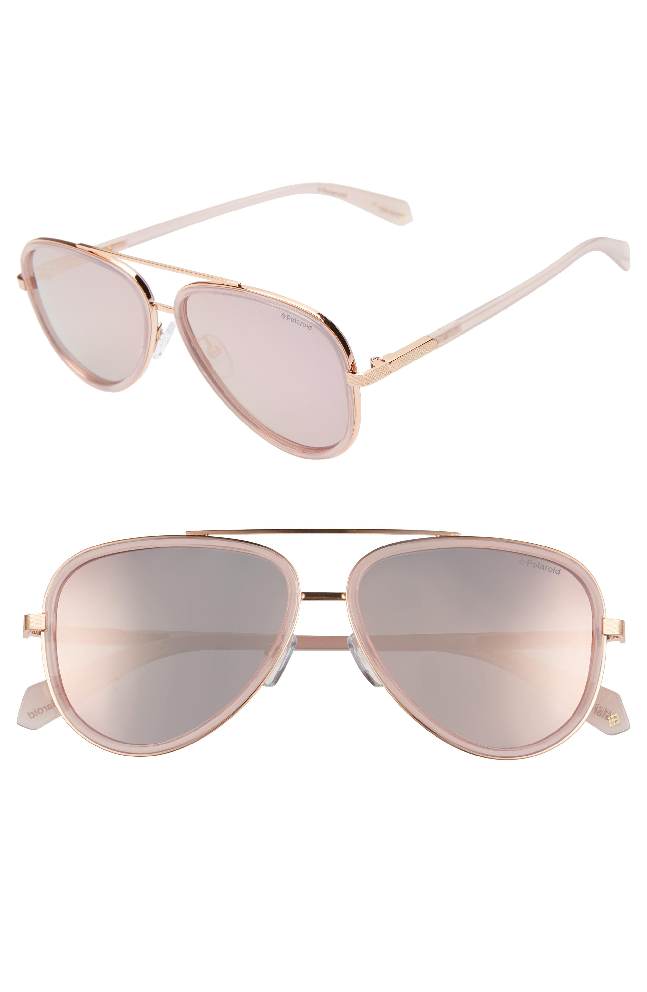 fbfcbfb230ce4 Polaroid 60Mm Polarized Round Aviator Sunglasses - Gold  Pink