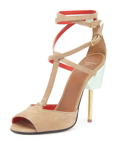 Givenchy 'Marzia' Metal Stiletto Suede Sandals In Klue/Krown