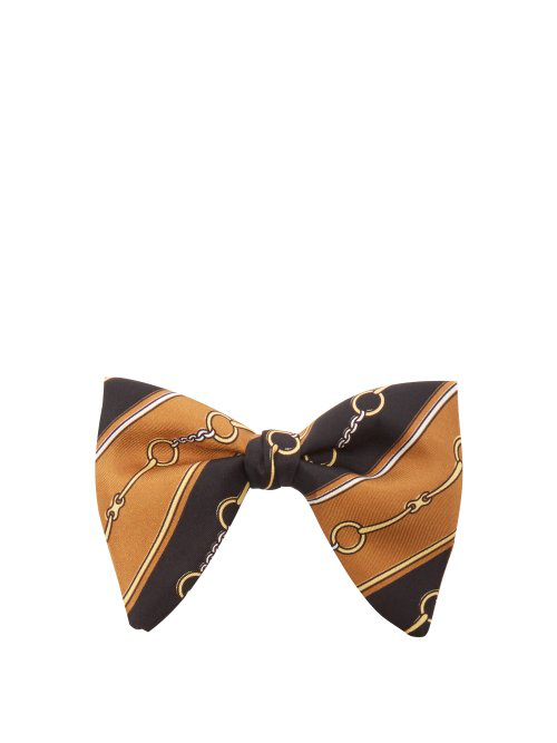 Gucci Horsebit Chain-Print Silk-Faille Bow Tie In Brown