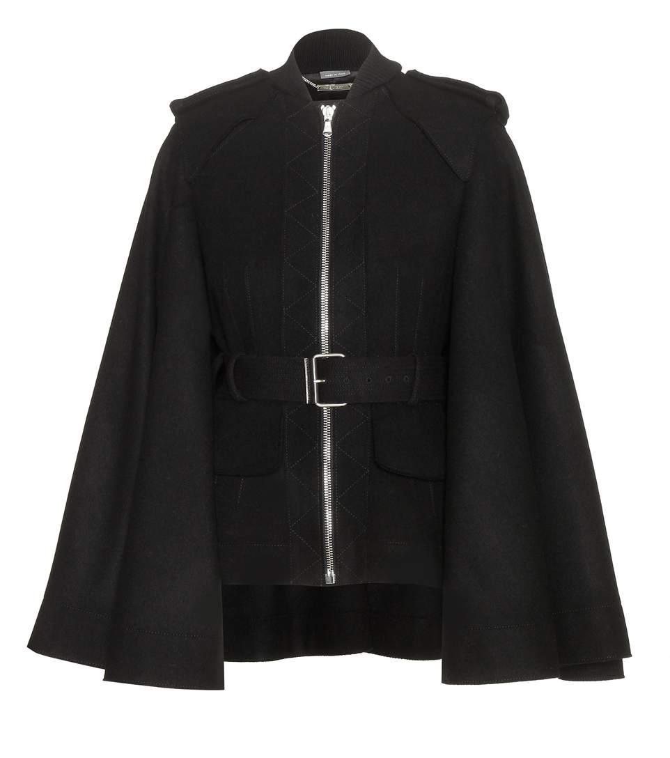 Alexander Mcqueen Wool Jacket With Flared Sleeves In Blk