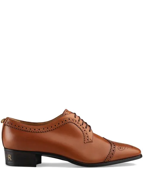 Gucci Leather Lace-Up With Brogue Detail In Brown