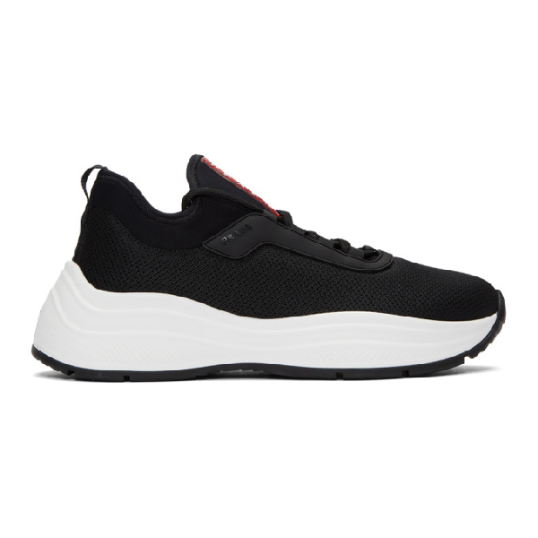 Prada Logo-printed Stretch-knit And Neoprene Sneakers In F0967 Nero Bianco