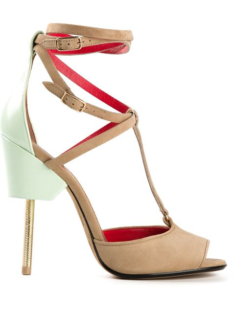 Givenchy 'marzia' Metal Stiletto Suede Sandals In Llue