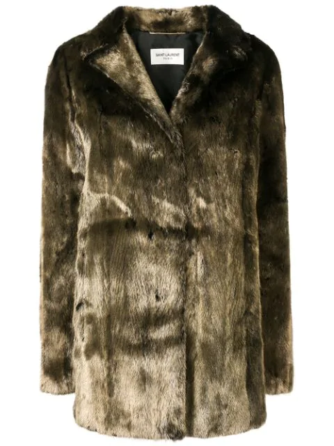 Saint Laurent Metallic Mink Fur Coat In Green