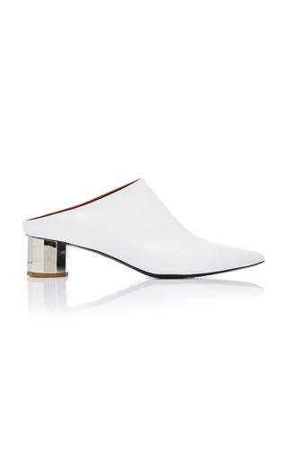 Proenza Schouler Mirrored-Heel Leather Mules In Optic White/White Plexi