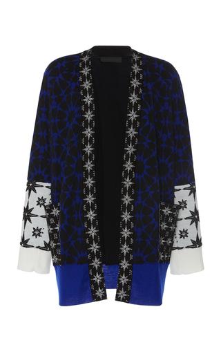 Haider Ackermann Intarsia Cashmere And Silk Cardigan In Blue