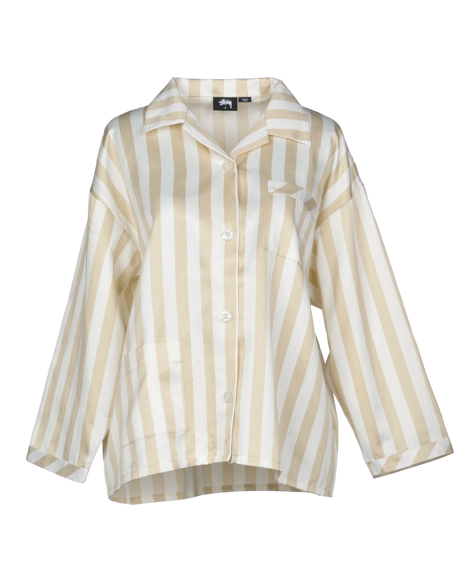 Stussy Striped Shirt In Beige