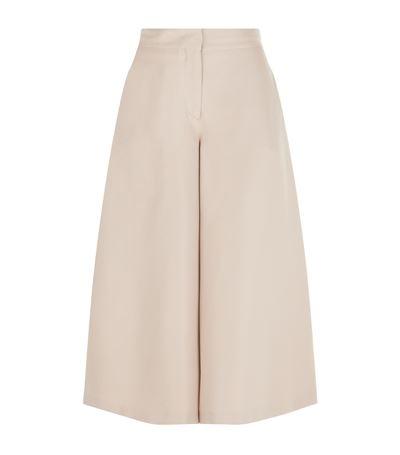 Valentino Silk Shantung Trousers In Beige