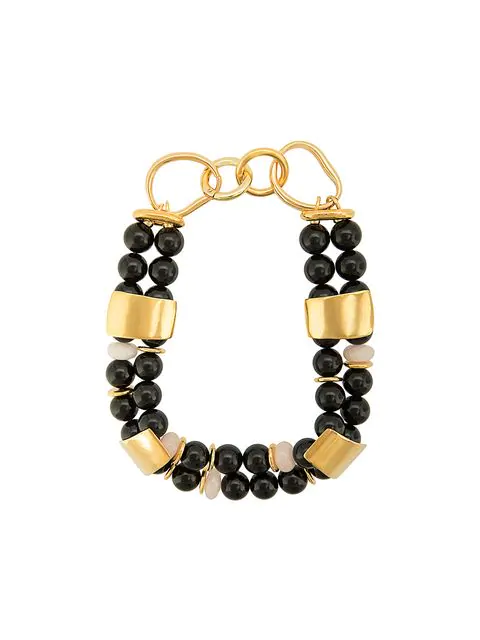 Lizzie Fortunato Reflection Beaded Necklace In Black