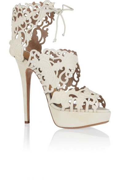 Charlotte Olympia Woman Belinda Cutout Suede Sandals Ivory In White