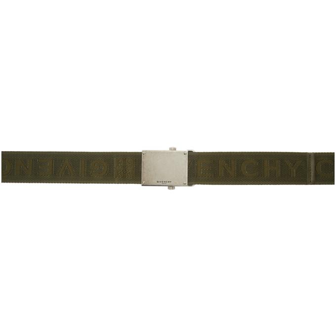 Givenchy Khaki Webbing Logo Belt