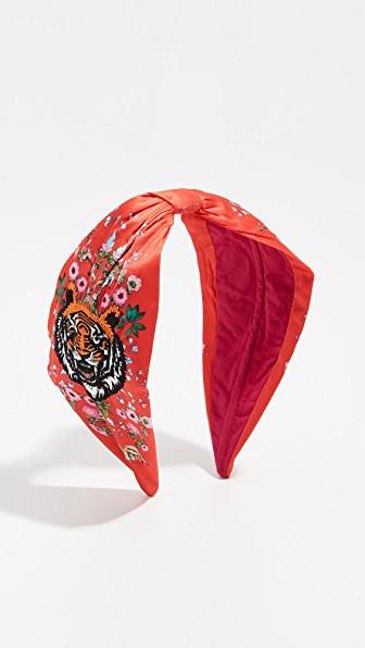 Namjosh Tiger Embroidered Headband In Red