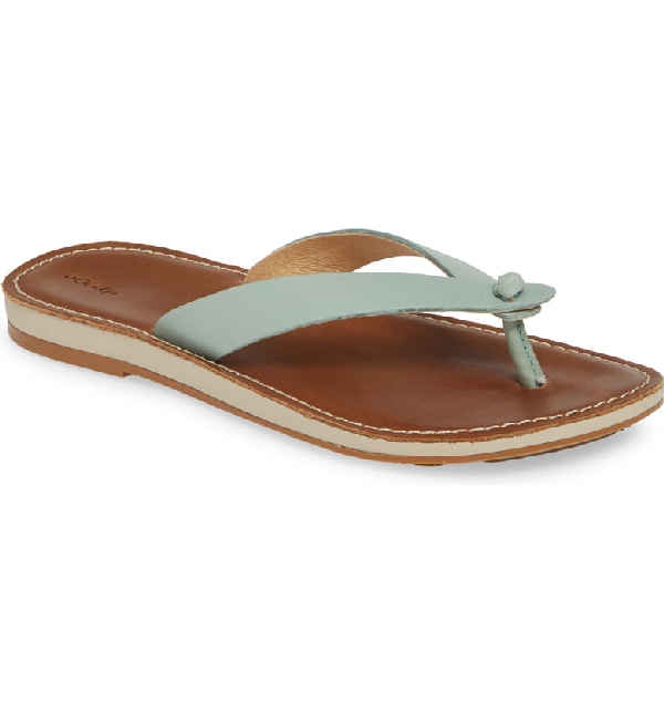 Olukai Nohie Flip Flop In Tide Blue/ Tan Leather