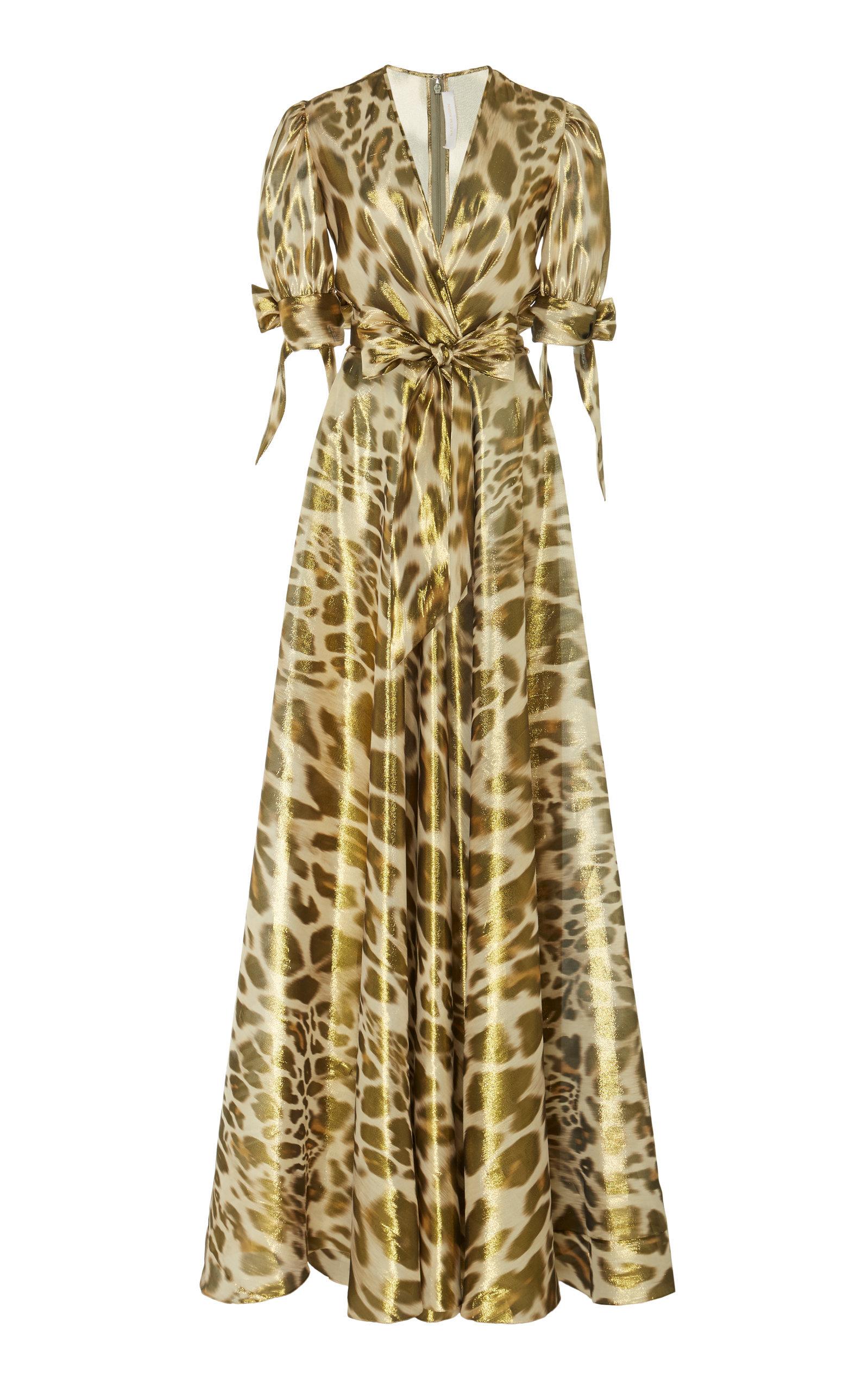 ad5af49a54462c Naeem Khan Metallic Leopard-Print Silk-Blend Chiffon Gown In Animal ...