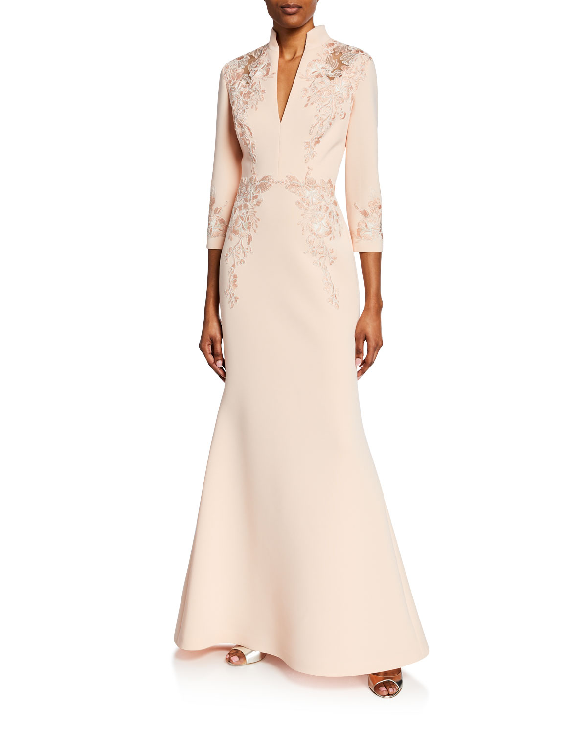 69dbdea09c7 Badgley Mischka Embroidered V-Neck 3 4-Sleeve Scuba Trumpet Gown In Blush