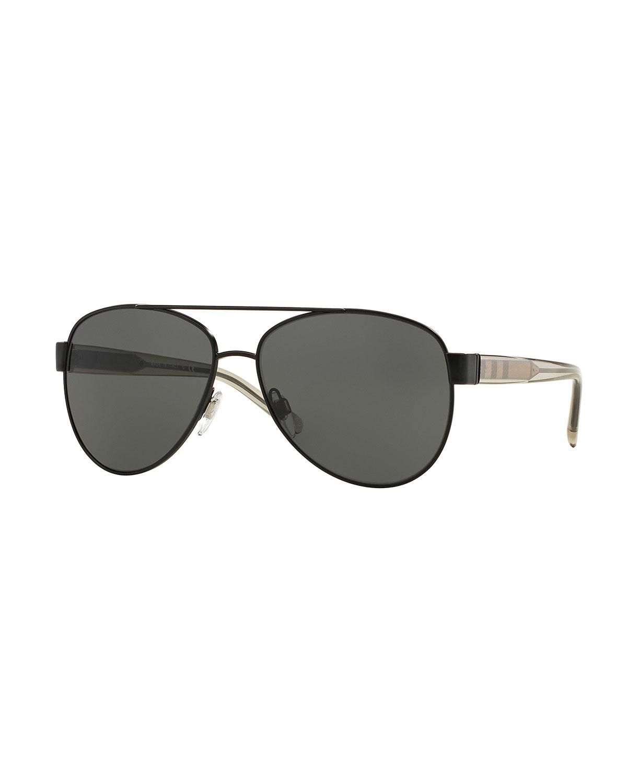 89a96aba4500 BURBERRY. Metal Check-Trim Aviator Sunglasses