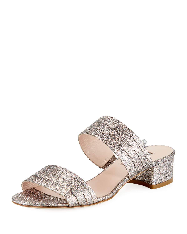 5cf44eb8d53 Sjp By Sarah Jessica Parker Bloom Glittered Slide Sandals In Tinsel Rose  Gold