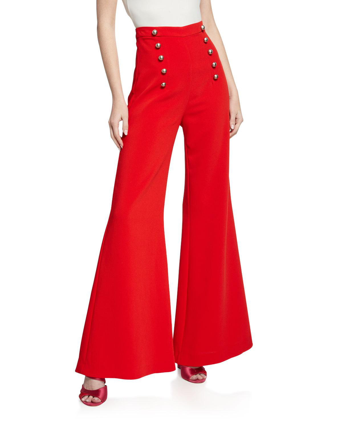 4e51b092d51872 Likely James High-Rise Flare Pants W/ Button Details In Scarlet ...