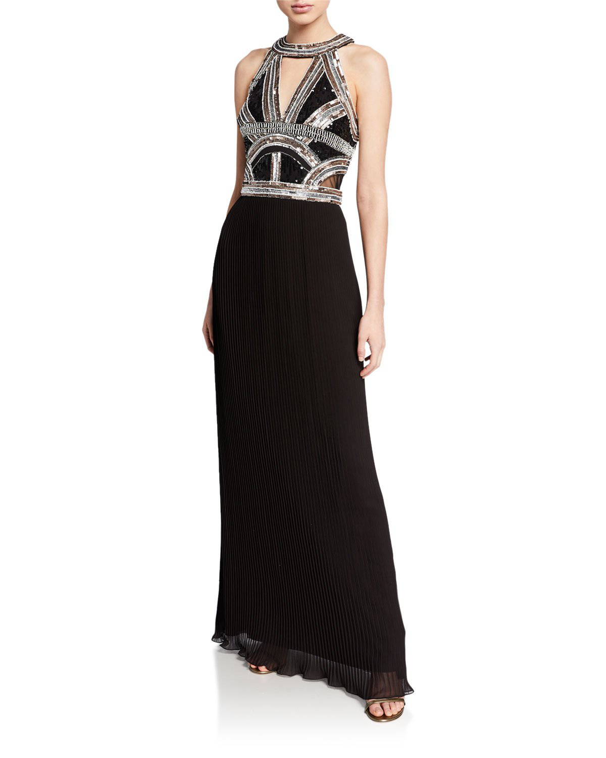 8e3a435ab56f0 Aidan Mattox Beaded-Bodice Halter Gown W  Pleated Georgette Skirt In Black