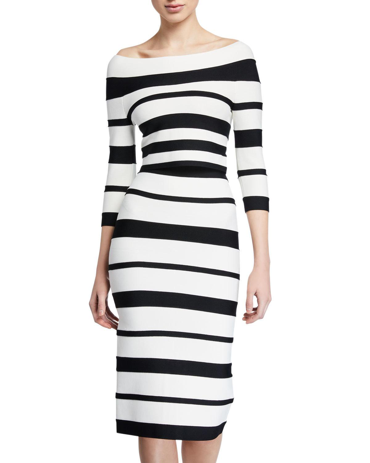 6f96298b5cb Herve Leger Off-The-Shoulder 3 4-Sleeve Top In White Black