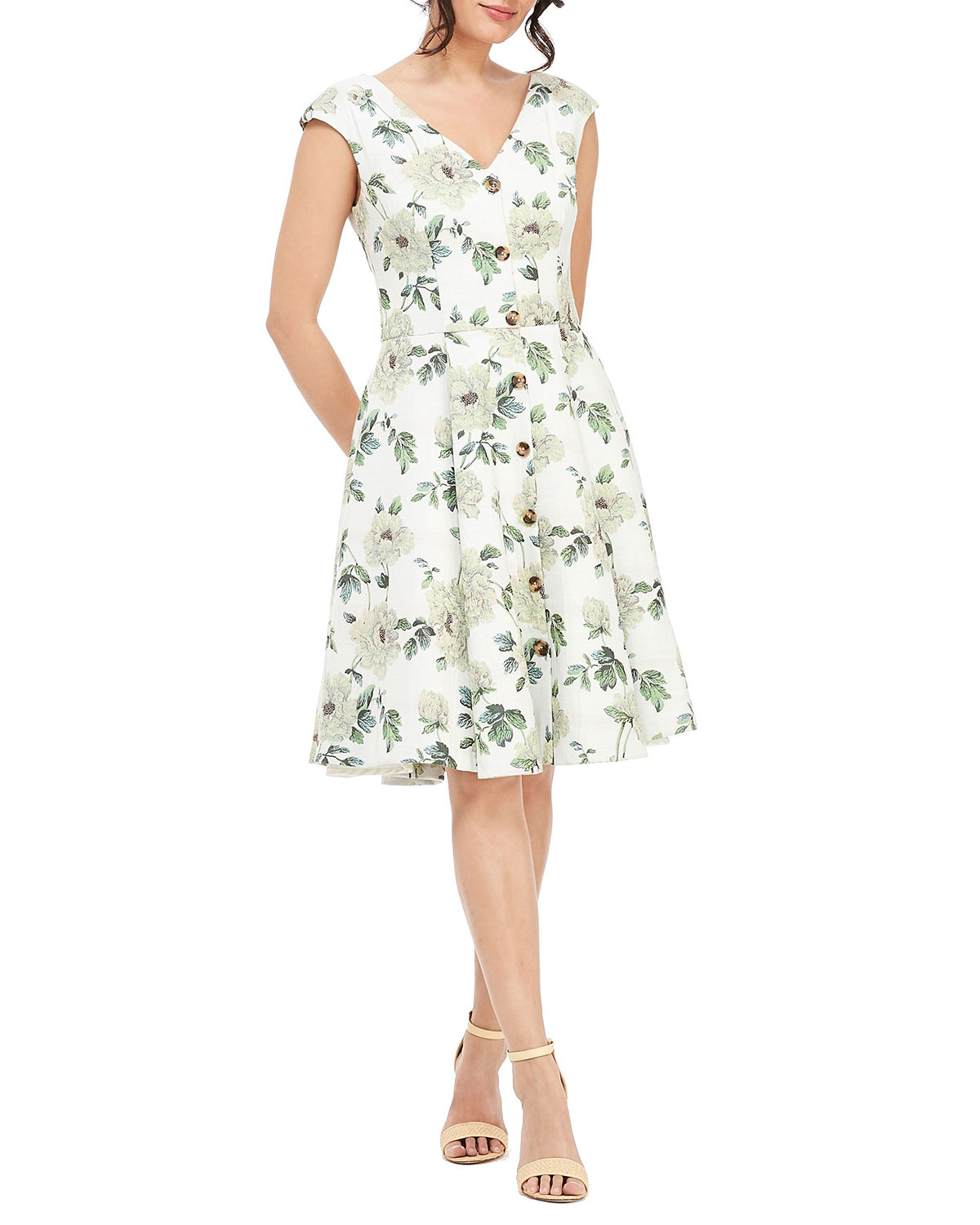 afb0aced9e078d Gal Meets Glam Collection Floral-Print V-Neck Button-Down Cap-Sleeve ...