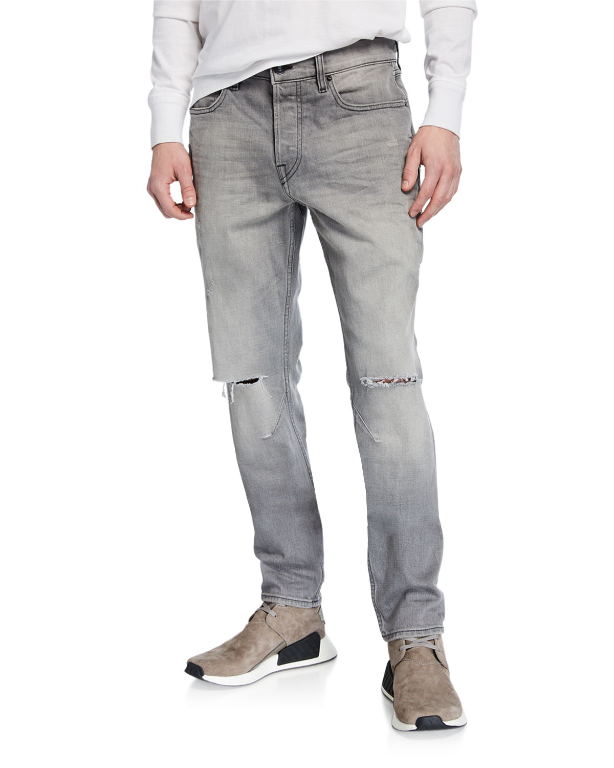running shoes comfortable feel numerousinvariety Men's Sartor Rip-Knee Skinny Jeans in Gray