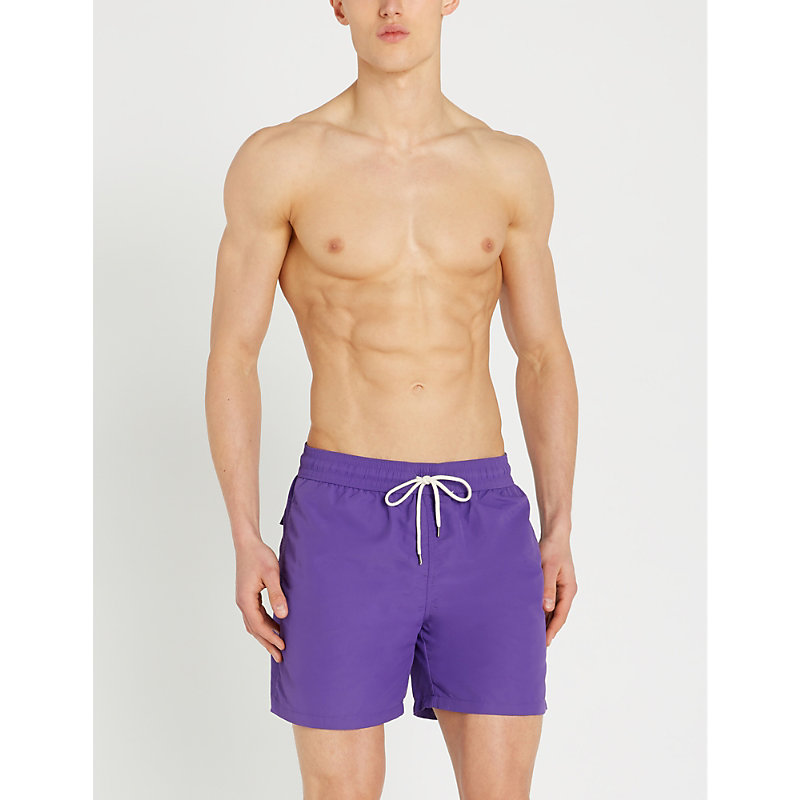 ddfc2cd321 Polo Ralph Lauren Traveller Mid-Rise Swim Shorts In Cabana Purple ...