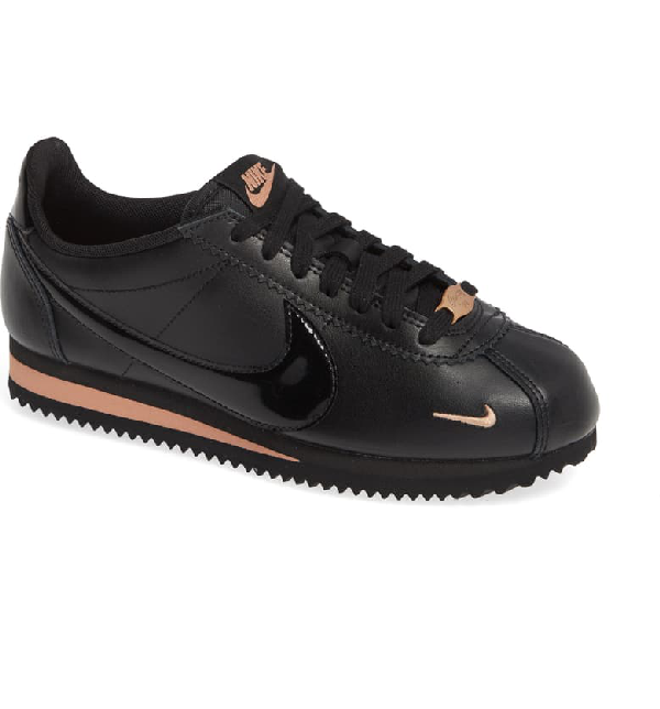 new list run shoes new lower prices Women's Classic Cortez Premium Low-Top Sneakers in Black/ Black/ Rose Gold