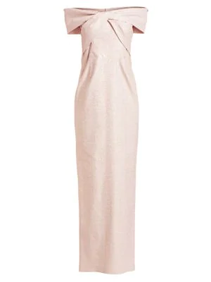7e697d227e2bf Teri Jon By Rickie Freeman Off-The-Shoulder Metallic Jacquard Column Gown  In Lilac