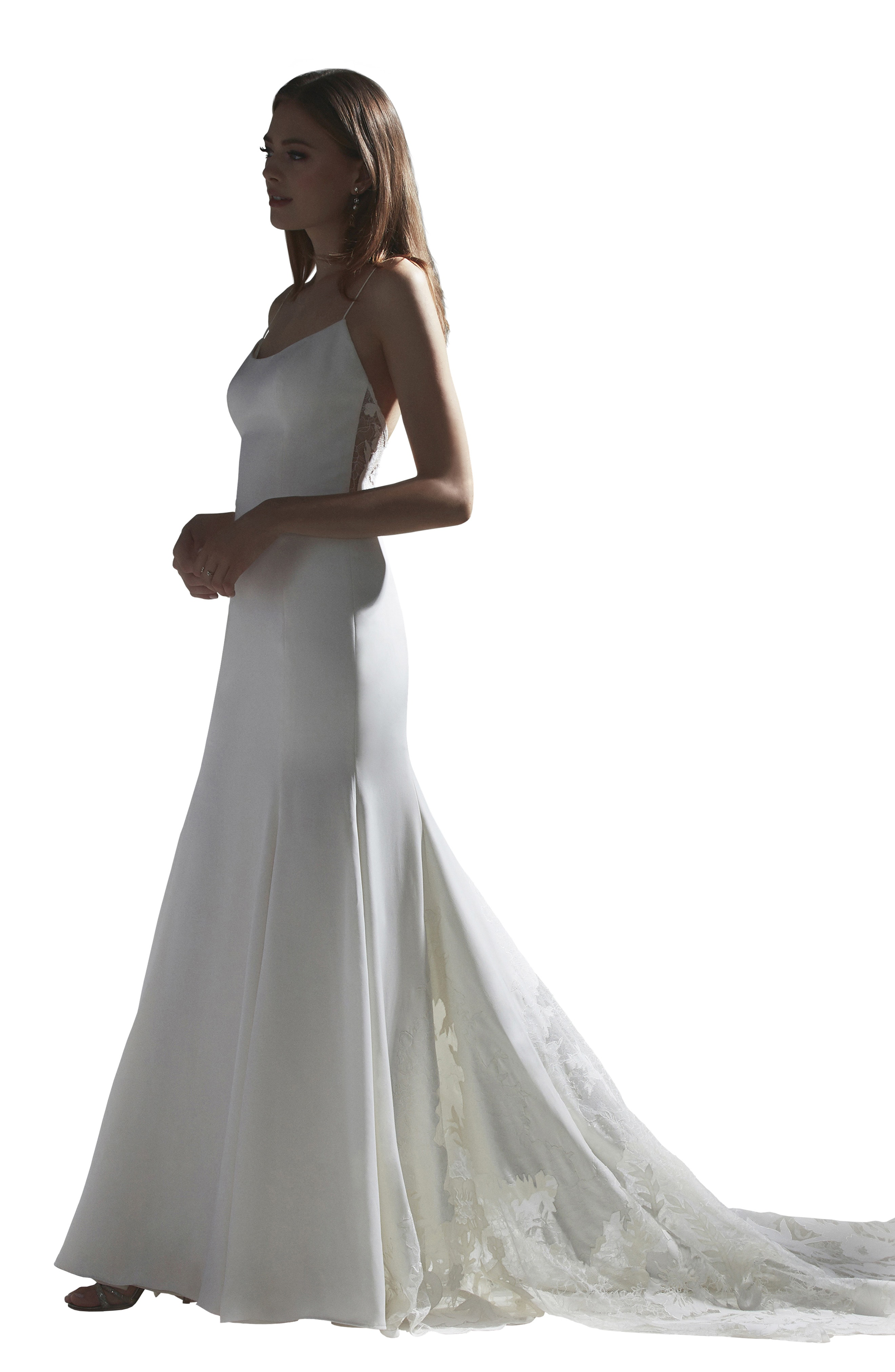 cdd189a5ab23 Watters Indra Lace Back Silk Trumpet Wedding Dress In Ivory | ModeSens