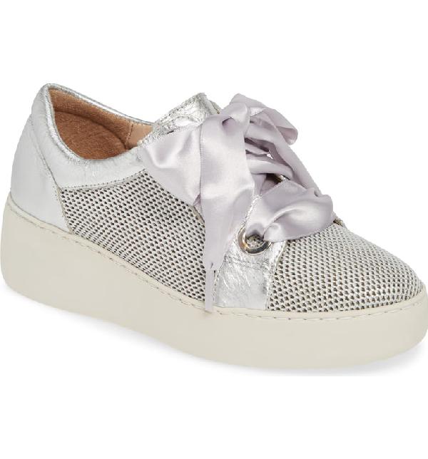 Wonders Platform Sneaker In Silver Leather