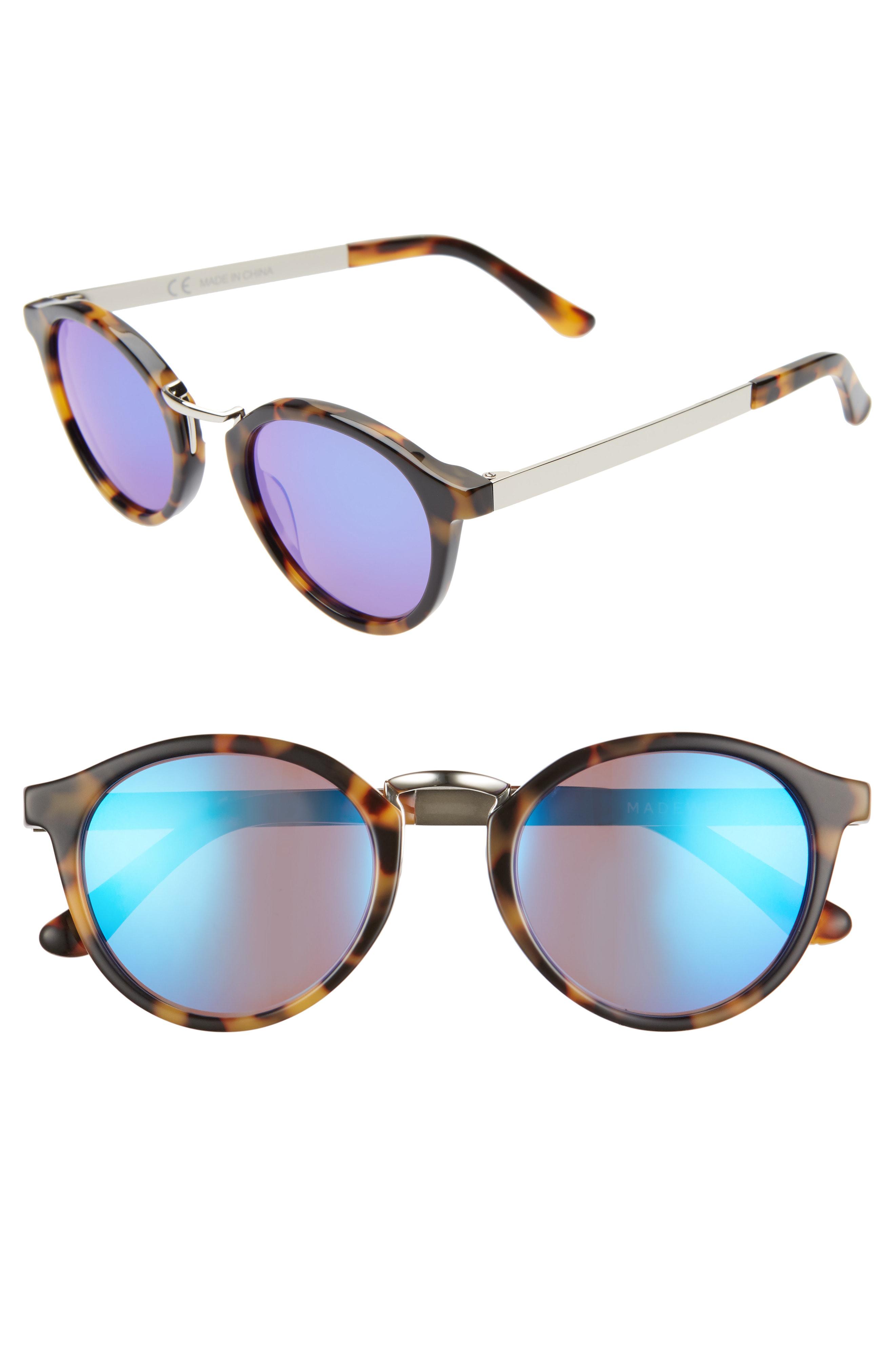 163f5f1af0e13 Madewell Indio 48Mm Round Sunglasses - Demi Tortoise  Flash Blue ...