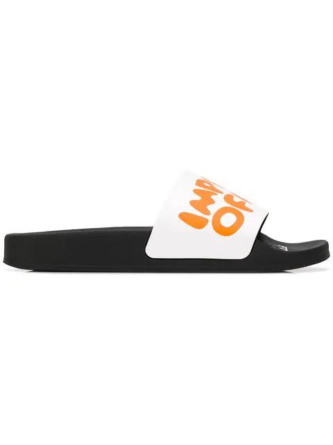Off-White Men's Impressionism Slider Sandals, White