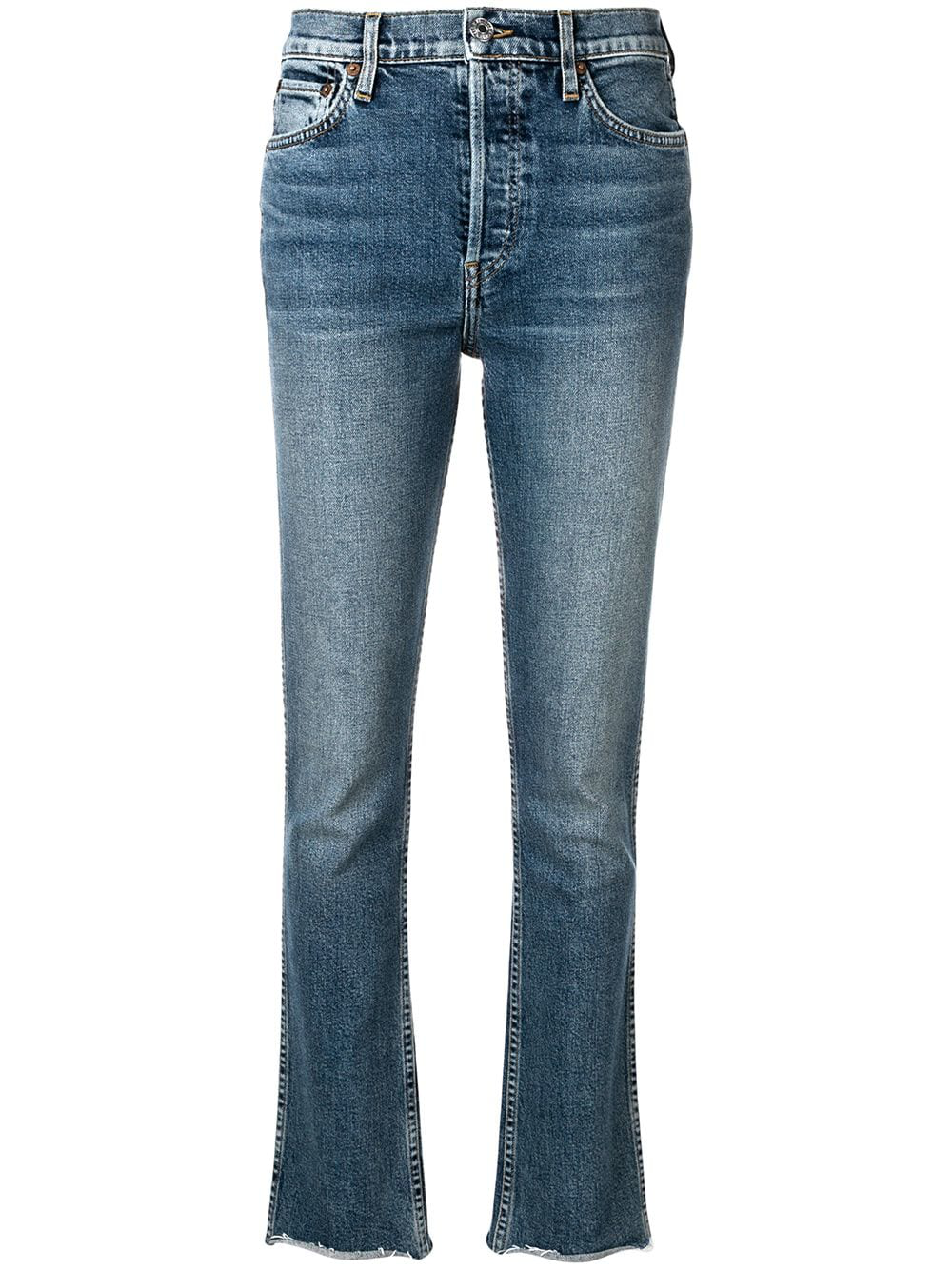 030a1c6c5675a2 Re/Done Mid Blue Double Needle Long Straight Leg Jeans | ModeSens