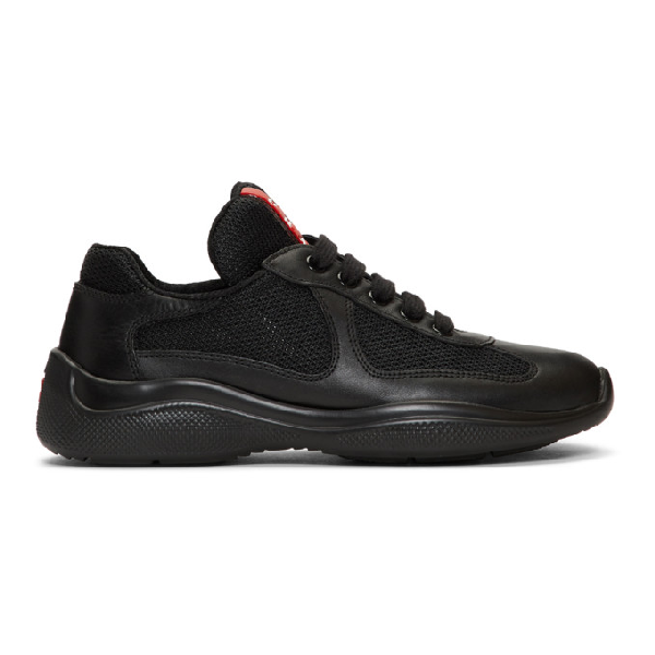 Prada Black Leather & Mesh Lace-up Sneakers