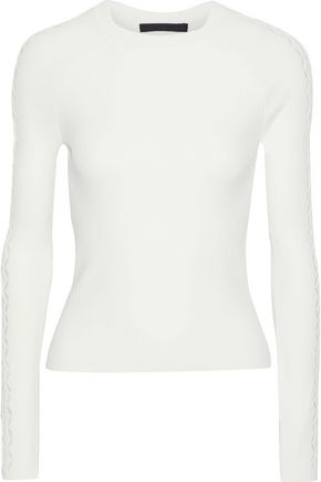 Alexander Wang Woman Laser-Cut Stretch-Knit Top White