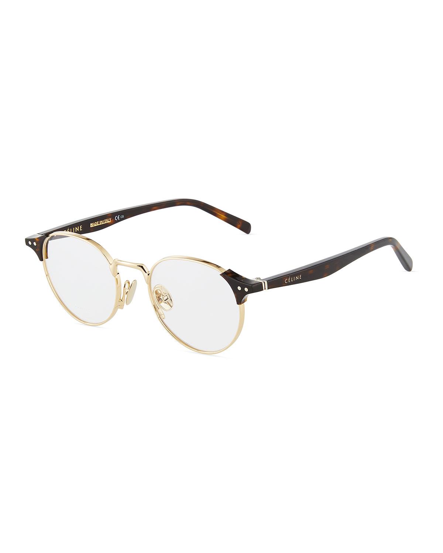 b6e9198f344 Celine Round Metal Acetate Optical Glasses In Gold