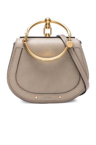 ChloÉ Chloe Small Nile Bracelet Bag Calfskin & Suede In Motty Grey In Gray