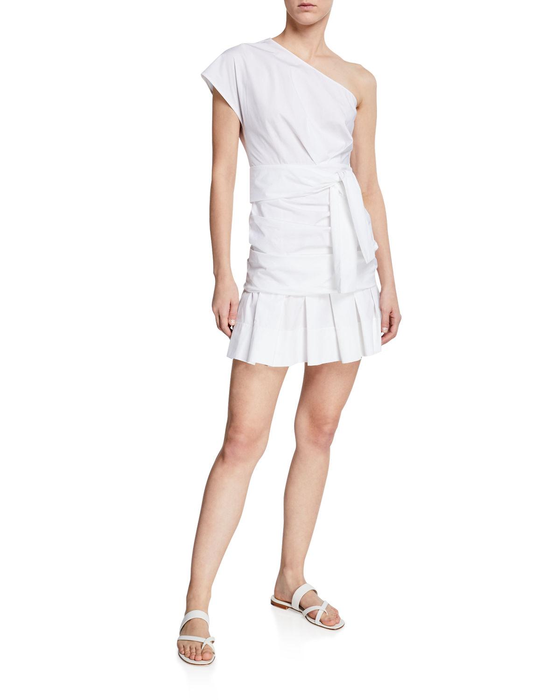 386f666ed0c Derek Lam 10 Crosby One-Shoulder Gathered Cotton Short Dress In White