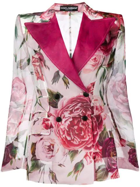 Dolce & Gabbana Peony-print Silk Organza Jacket In Har40  Peonie Fdo Panna