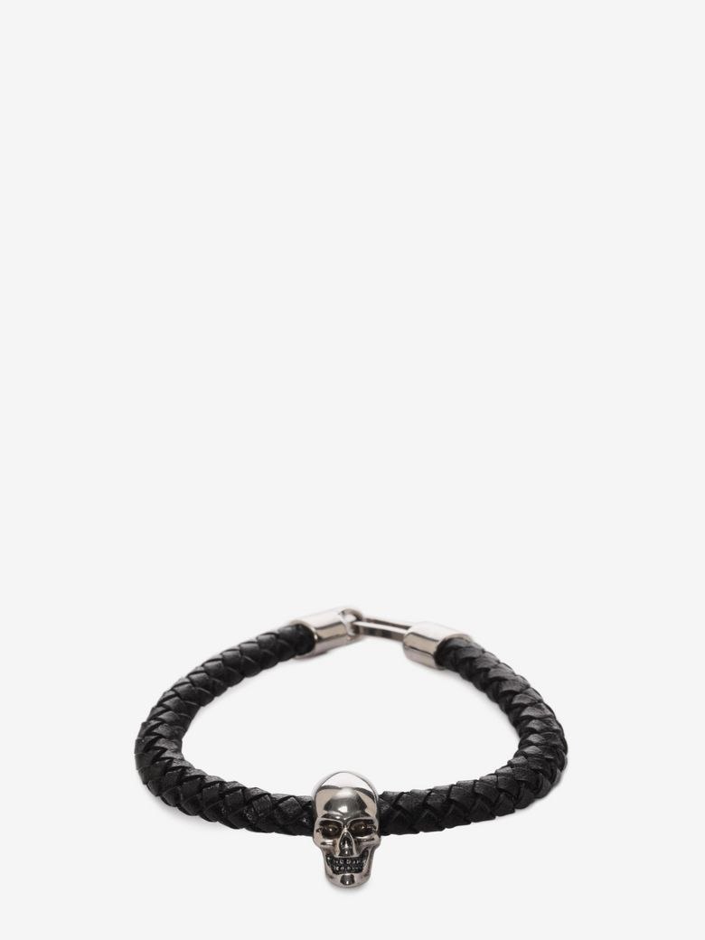 Alexander Mcqueen Woven-Leather And Skull Bracelet In Black