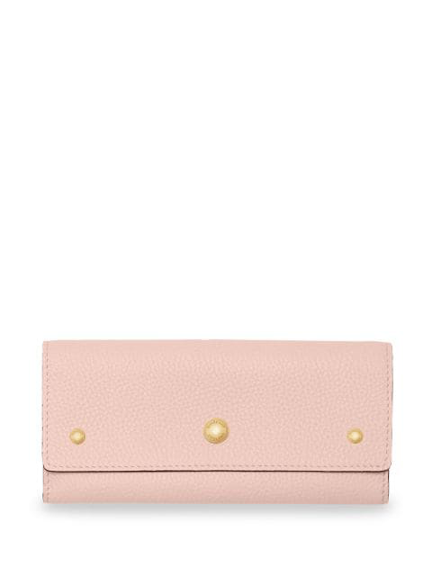 Burberry Grainy Leather Continental Wallet In Pink