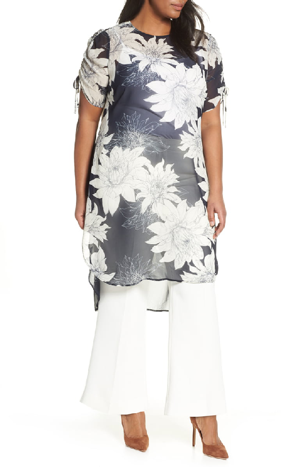 a3f6b083e6 Vince Camuto Pagoda Blossoms Shirttail Tunic In Classic Navy | ModeSens