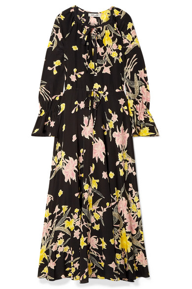 Diane Von Furstenberg Floral-Print Silk Crepe De Chine Maxi Dress In Black
