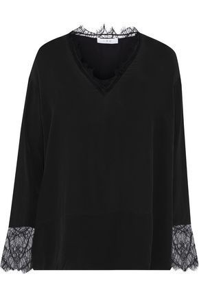 Iro Woman Erila Lace-Trimmed Crepe De Chine Top Black
