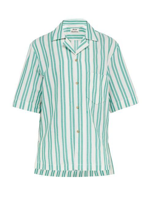 b8d1f6601 Acne Studios Simon Slim Fit Textured Stripe Camp Shirt In Green White