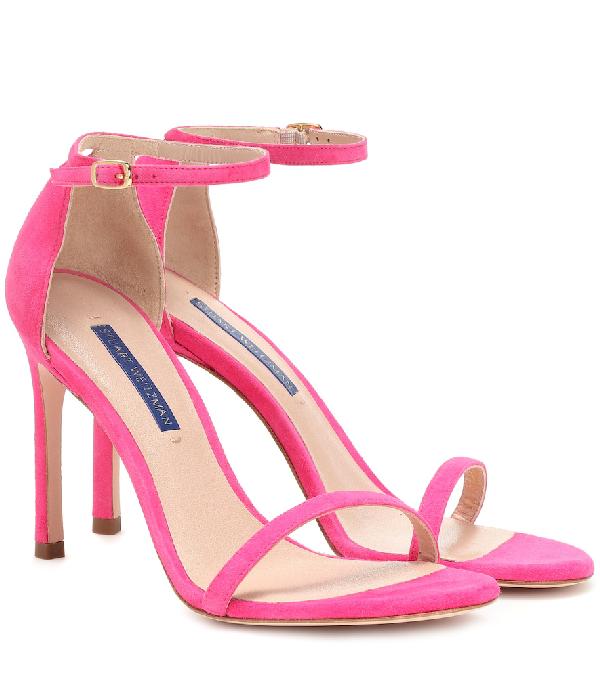 Stuart Weitzman Nudistsong Suede Sandals In Pink
