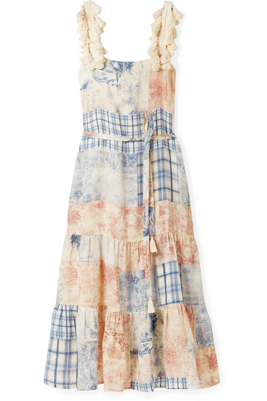Tory Burch Tasseled Patchwork Printed Linen Maxi Dress In Sky Blue